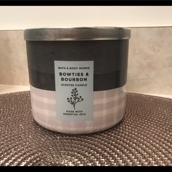 NWT Bowties & Bourbon 3-Wick Candle